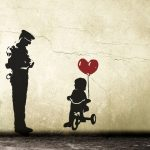 Banksy Wall Decal TRICYCLE COP, police guard and balloon girl, street art wall sticker, graffiti, vinyl art, urban interior, home decor - Today Pin
