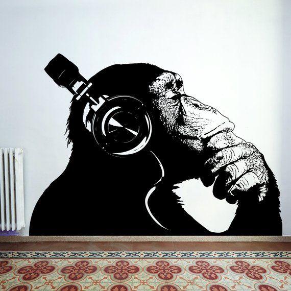 Banksy Wall Decal Thinking Monkey Art Sticker – Dj Chimp The Thinker Gorilla With Headphones Home Decals – Street Art Graffiti Mural Print