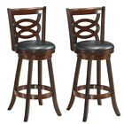 Bar Height Swivel Stool Back Tall Kitchen High Chair Wood Seat Dining Room Brown  | eBay