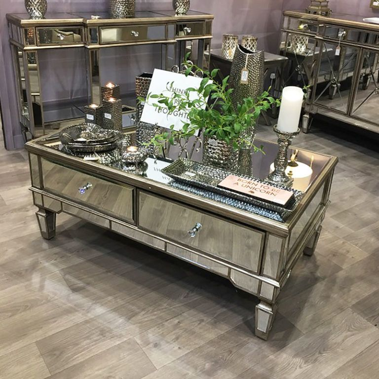 Belfry 4 Drawer Champagne Gold Mirrored Coffee Table   Picture Perfect Home