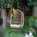 Belham Living Bali Resin Wicker Hanging Egg Chair with Cushion and Stand - Walmart.com