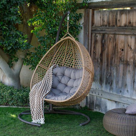 Belham Living Cayman Resin Wicker Hanging Double Egg Chair with Cushion and Stand – Walmart.com