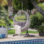 Belham Living Palma Resin Wicker Hanging Egg Chair with Cushion and Stand - Walmart.com