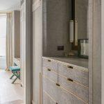 Bespoke wardrobes, bespoke joinery, brass detail, grey sycamore, storage, vanity...