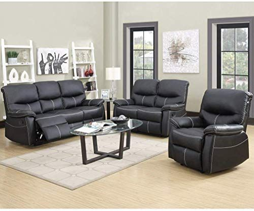 Best Seller Recliner Sofa Leather Set 3 PCS Motion Sofa Loveseat Recliner Leather Sofa Recliner Couch Manual Reclining Chair 3 Seater  Living Room online – Chicideas