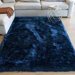 Best Seller Shimmer Shag Shaggy Furry Fluffy Fuzzy Solid Soft Modern Contemporary Thick Plush Soft Pile Navy Blue Dark Blue Two Tone Colors Area Rug Carpet Bedroom Living Room 8x10 Feet Sale - Glorious Navy Blue online - Topbrandshits