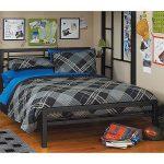 Black Metal Full Size Platform Bed Black Furniture Headboard Footboard and Rails