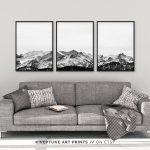 Black and White Mountain Print, Set of 3 Snow Mountain Printable, Wall Art, 3 Piece Poster, Minimalist, Modern Landscape Home Decor, Digital