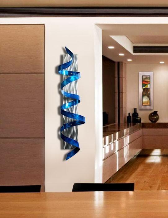 Blue Abstract Metal Wall Sculpture – Modern Metal Twist Art – Wall Hanging – Home Decor – Wall Accent – Blue Hurricane by Jon Allen