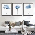 Blue wall art Prints wall art Set of 3 Rustic home decor Watercolor Peony print Kitchen wall decor Bedroom wall decor Living room wall decor