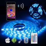 Bluetooth LED strip lights - 5050 16.4 ft/5 Meter 150 LED Stripes Lights Smart-phone Controlled Waterproof RGB LED Band Light for Home&Outdoor Decoration - Rgb - C61807TAZTQ