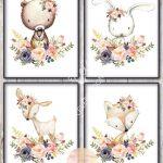 Boho Woodland Animal Set / Blush Pink Navy Gold / 8x10 / Floral / Baby Girl Nursery / Printable / Baby Shower Decor / Bedroom Wall Art