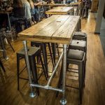 Breakfast Bar / High Table / Dining Table / Kitchen Island Industrial Modern Rustic Reclaimed Timber Wood Raw Steel Legs