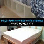 Build your own bed with storage using bookcases - pickndecor.com/furniture