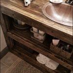 Built in Bathroom Cabinet, Open Shelf Bathroom Vanity, Rustic Bath, Copper Sink,...