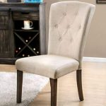 Button Tufted Fabric Upholstered Wooden Side Chair, Beige And Oak Brown -CM3450SC-2PK By Casagear Home