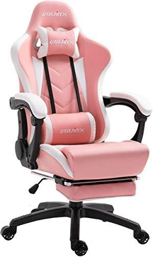 Buy Dowinx Gaming Chair Ergonomic Racing Style Recliner  Massage Lumbar Support, Office Armchair  Computer PU Leather E-Sports Gamer Chairs  Retractable Footrest (White&Pink) online – Liketopclothing