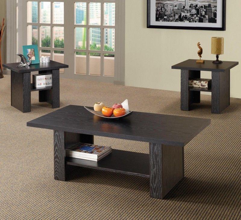 Coaster 3 PC Black Oak Coffee Table & End Table Set