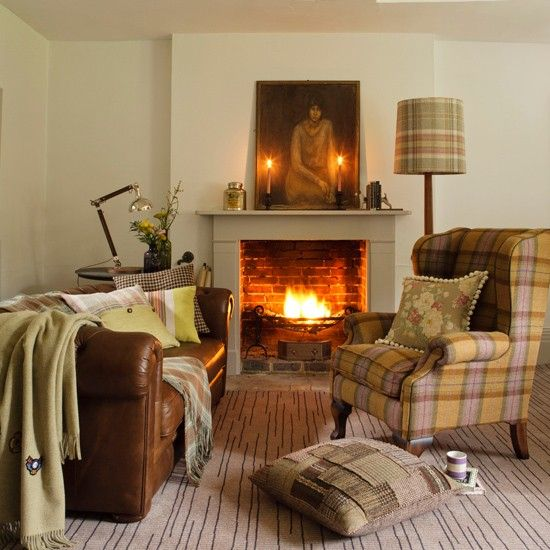 Country living room with plaid accents   Living room design   Ideal Home