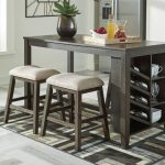 D397-32-024-5PC  5 pc Rokane warm brown finish wood counter height dining table set with storage