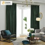 DIHIN HOME Exquisite Solid Dark Green Printed,Blackout Grommet Window Curtain for Living Room ,52x63-inch,1 Panel