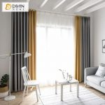 DIHIN HOME Exquisite Yellow and Grey Printed,Blackout Grommet Window Curtain for Living Room ,52x63-inch,1 Panel
