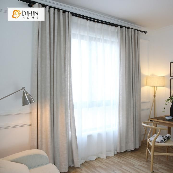 DIHIN HOME Grey Solid,Cotton Linen,Blackout Grommet Window Curtain for Living Room ,52×63-inch,1 Panel