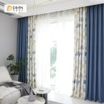 DIHIN HOME Leaves and Blue Printed,Blackout Grommet Window Curtain for Living Room ,52x63-inch,1 Panel