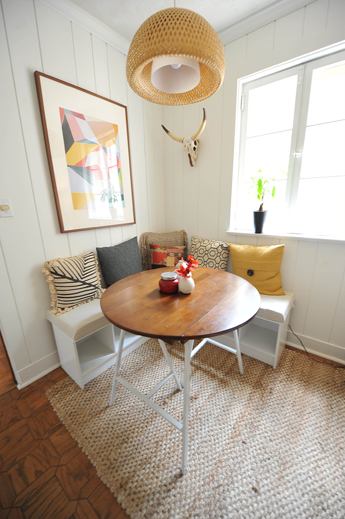 DIY Corner Bench with Built-in Table Decor – Onechitecture