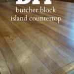 DIY butcher block island countertop using a sheet of cabinet-grade plywood.