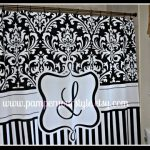 Damask and Stripe Black and White -Personalized Shower Curtain, Custom Monogrammed Curtain