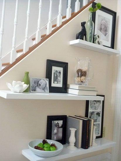 Decorate floating style shelves #homedecor