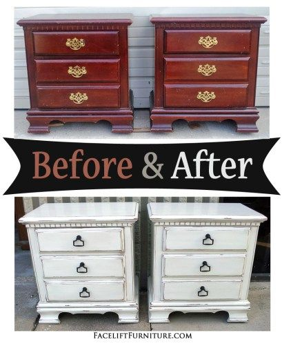 Distressed Antiqued White Nightstands – Before & After