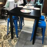 East West Furniture Counter Height Rectangular Table, Black and UrbanMod 24 Inch Bar Stools for Kitchen Counter Height, Indoor Outdoor Metal, Set of 4,Blue — PIQ Creative Living