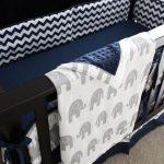 Elephant Nursery Crib Bedding Set, Baby Boy, Navy Blue Crib Sheet, Chevron Crib Skirt, Grey Elephant Bumper Pad, Minky Elephant Blanket
