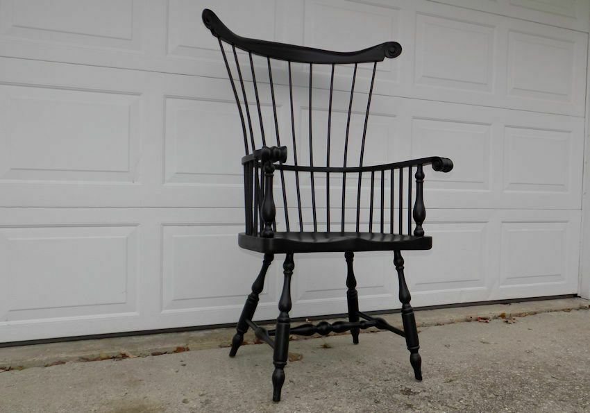 Ethan Allen high comb back Windsor arm chair New Country black 48″ tall #EthanAl…