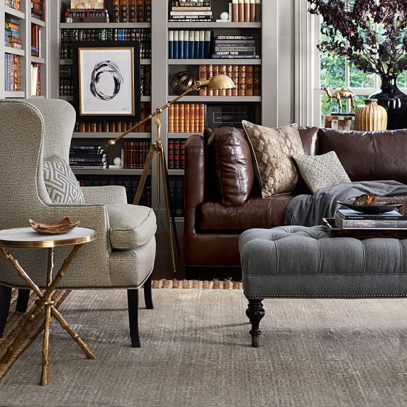 Fairfax Bench Ottoman, Turned Leg with Tufted Top