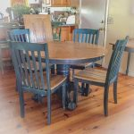 Farmhouse Table, extendable dining table,  blue, kitchen table, shabby chic dining table, round dining table, farm table, painted furniture