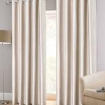 Faux Silk Eyelet Natural Ready Made Curtains