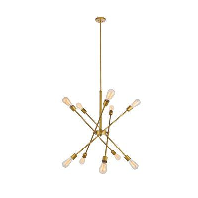 Foundstone Everett 10-Light Sputnik Modern Linear Chandelier | Wayfair