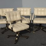 Four Vintage Mid Century Modern Leather Dining Chairs Castors by Cal-State