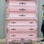 French chest painted in a Pewtered Pink finish. Gorgeous detail and beautifully ...