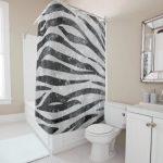 Glamorous Black White Sparkly Glitter Zebra Stripe Shower Curtain | Zazzle.com