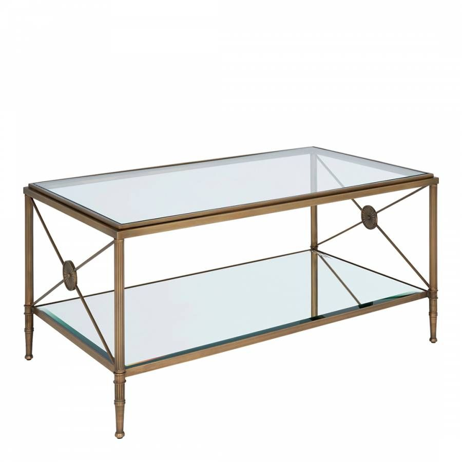 Goa Antique Brass Coffee Table Clear Glass Top