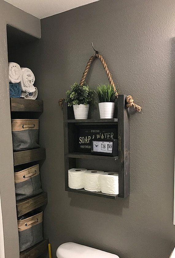 Granja cuarto de baño colgante cuerda escalera estante, granja moderna sobre el almacenamiento del inodoro, cuerdas rústicas y estantes de madera, botiquín
