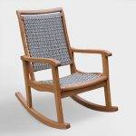 Gray All-Weather Wicker and Wood Galena Rocking Chair: Brown/Gray by World Market