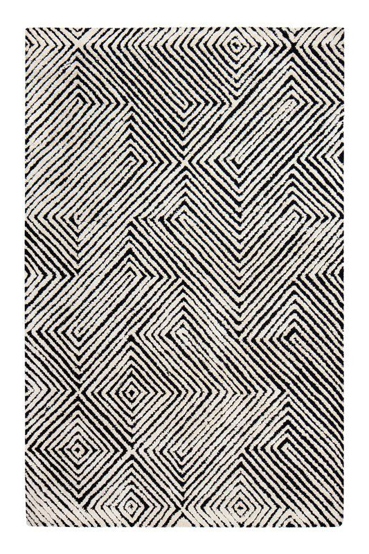 Hand-Tufted Black/White Area Rug