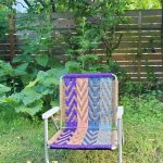 Hand Woven Macrame Lawn Chair | Vintage Aluminum Folding Camp Chair | Outdoor Glamping, Yard, Concert, Festival Seating, Metal Patio Seating