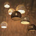 Hanging lighting chandelier. 7 ceiling shades. Pendant light fixture. Ceiling lights. Modern chandelier. Ceramic lighting.