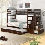 Harper & Bright Designs Espresso Twin Over Twin Bunk Bed with Trundle and Drawers SK000014AAP - The Home Depot
